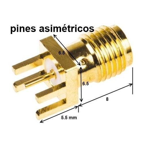 Conector SMA coaxial ASIMETRICO para pcb