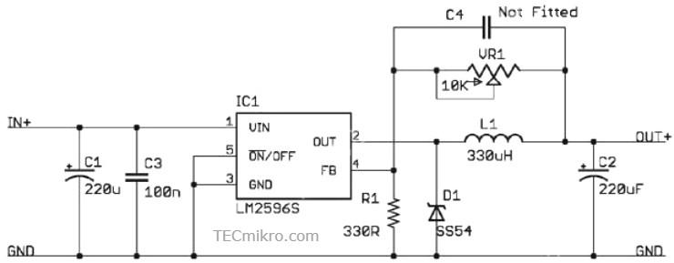 Esquema eléctrico del módulo LM2596