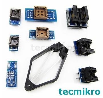Programador de BIOS Minipro TL866: Zocalos sockets adaptadores