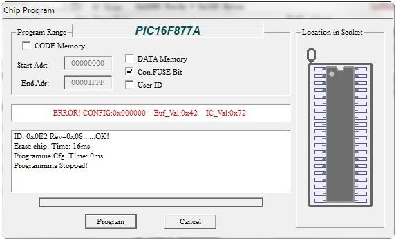 Programador de BIOS Minipro TL866: Mensaje de Error
