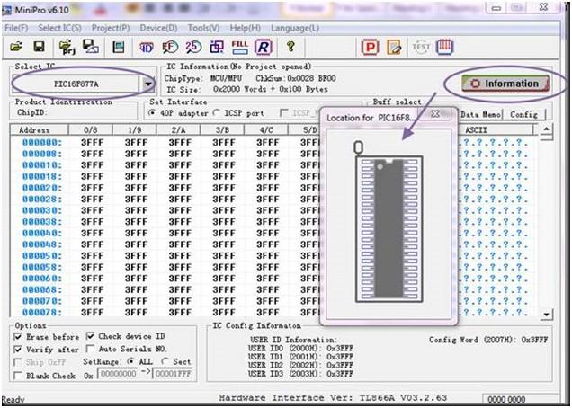 Programador de BIOS Minipro TL866: Programacion